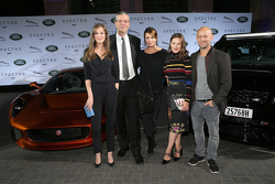 Alexandra Maria Lara, Peter Modelhart Director Jaguar Land Rover Germany, Anja Kling, Hannah Herzsprung and Juergen Vogel during the presentation of the Jaguar Land Rover vehicles starring in the new Bond film Spectre