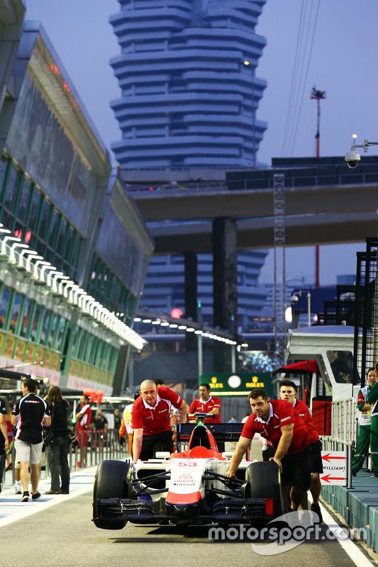 De wagen van Alexander Rossi, Manor Marussia F1 Team