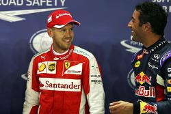Polesitter Sebastian Vettel, Ferrari with second placed Daniel Ricciardo, Red Bull Racing