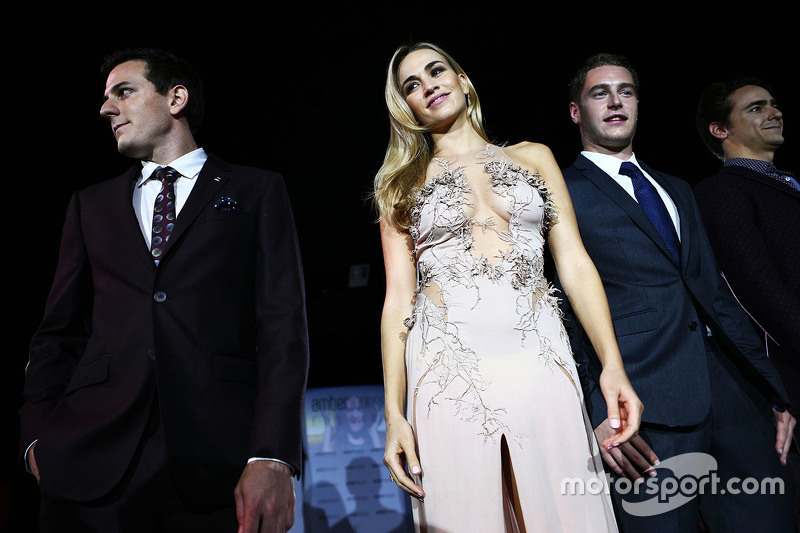 Fabio Leimer, Manor F1 Team Test and Reserve Driver, Carmen Jorda, Lotus F1 Team Development Driver, Stoffel Vandoorne, McLaren Test and Reserve Driver, Esteban Gutierrez, Ferrari Test and Reserve Driver at the Amber Lounge Fashion Show