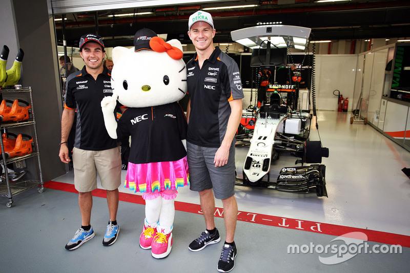 Sergio Perez, Sahara Force India F1 and Nico Hulkenberg, Sahara Force India F1 with Hello Kitty