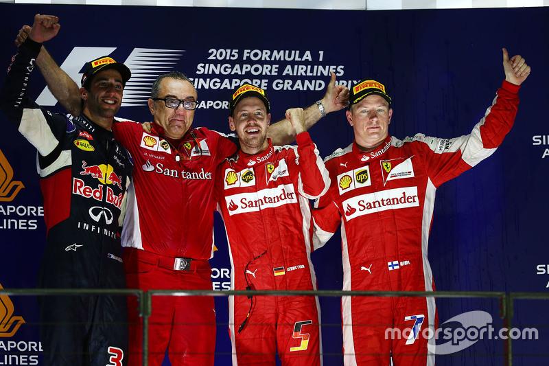 2015: 1. Sebastian Vettel, 2. Daniel Ricciardo, 3. Kimi Räikkönen