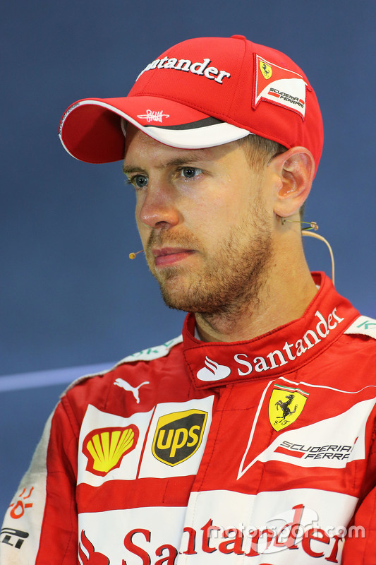 Race winner Sebastian Vettel, Ferrari in the FIA Press Conference