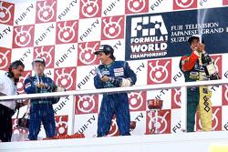 Podium: race winner Nelson Piquet, Benetton, second place Roberto Moreno, Benetton, third place Agur