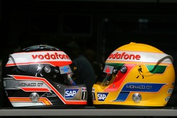 Helmets of Fernando Alonso, McLaren Mercedes and Lewis Hamilton, McLaren Mercedes, with Steinmetz Diamonds