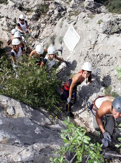 Formula Unas girls in a mountain climbing expedition: Rebecca Blomgren, Tahnee Frijters and Katja Semenova