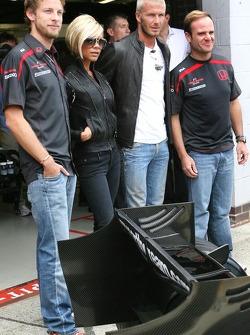 Jenson Button, Honda Racing F1 Team , Victoria and David Beckham, Rubens Barrichello, Honda Racing F1 Team