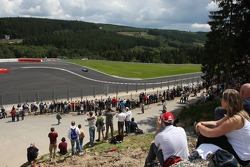 Fans at the new last chicane