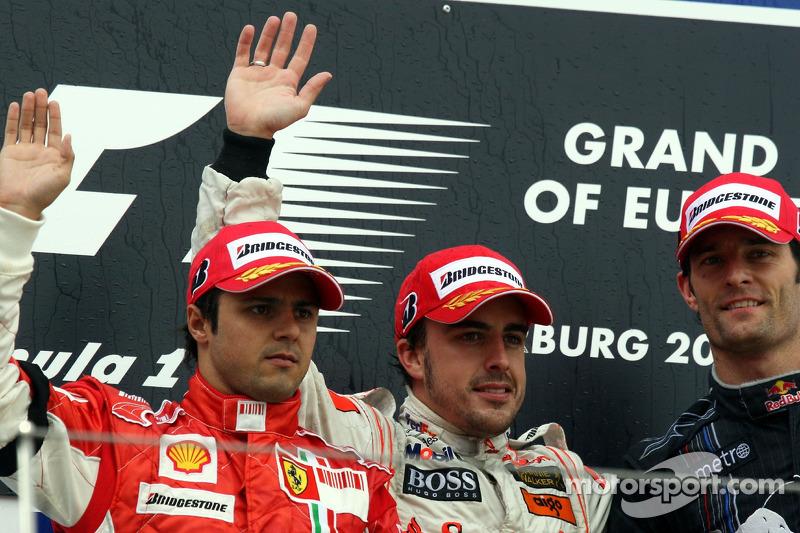 Podium: 1. Fernando Alonso, 2. Felipe Massa, 3. Mark Webber