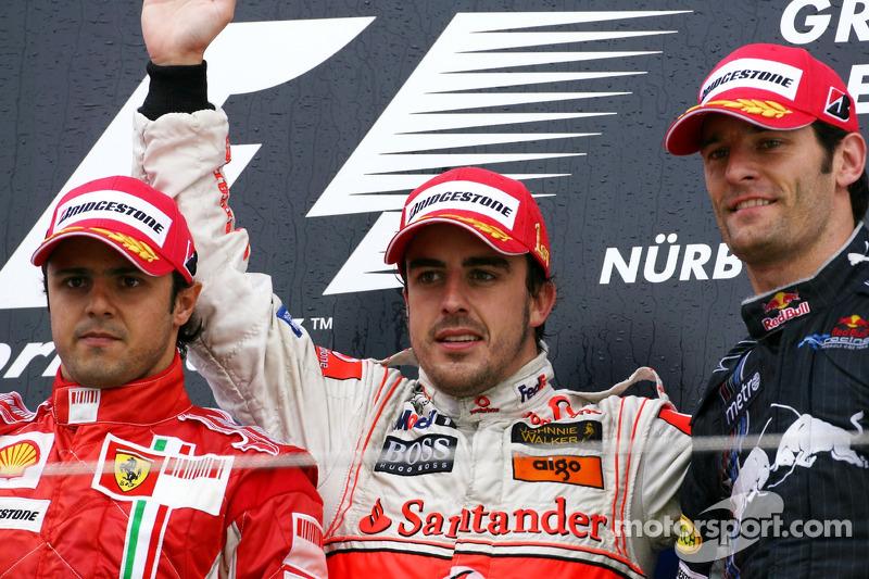 2007. Нюрбургрінг. Подіум: 1. Фернандо Алонсо, McLaren-Mercedes. 2. Феліпе Масса, Ferrari. 3. Марк Веббер, Red Bull - Renault