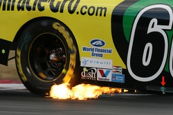 Flames on the car of Carl Edwards