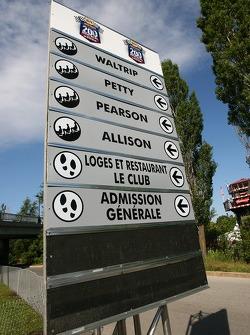 Grandstands sign at Circuit Gilles-Villeneuve