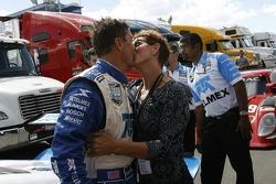 DP and overall pole winner Scott Pruett celebrates with wife Judi