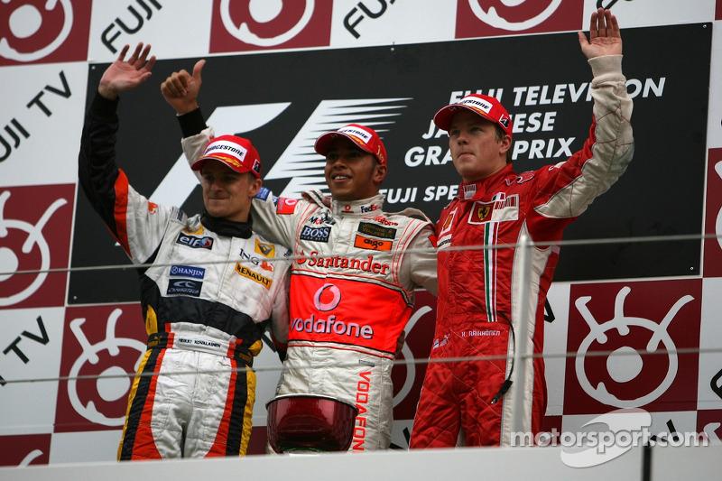 2007 Podium: 1. Lewis Hamilton, McLaren-Mercedes. 2. Heikki Kovalainen, Renault. 3. Кimi Raikkonen, Ferrari