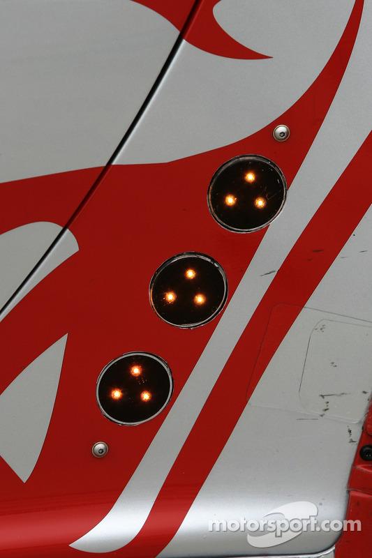 Position lights detail on the Flying Lizard Motorsports Porsche 911 GT3 RSR