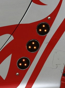 Position lights detail on the Flying Lizard Motorsports Porsche 911 GT3 RSR