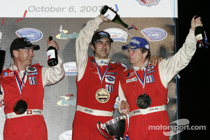 GT1 podium: champagne for Didier Theys, Fredy Lienhard and Andrea Bertolini