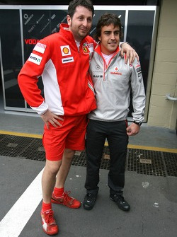 Fernando Alonso, McLaren Mercedes and a Scuderia Ferrari Mechanic