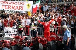 Race winner and 2007 World Champion Kimi Raikkonen and Felipe Massa