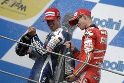Podium: race winner Casey Stoner and second place Marco Melandri