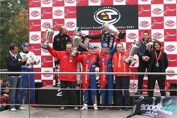 Championship podium: GT1 champion #1 Vitaphone Racing Team Maserati MC 12: Michael Bartels, Thomas Biagi, GT2 champion #50 AF Corse Motorola Ferrari 430 GT2: Toni Vilander, Dirk Muller