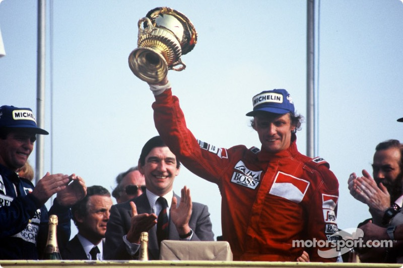 Podium: race winner Niki Lauda