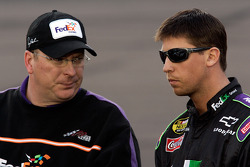 Denny Hamlin talks with crew chief Mike Ford