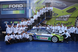 The BP-Ford World Rally Team celebrate winning the Manufacturers Championship for the second consecutive year running