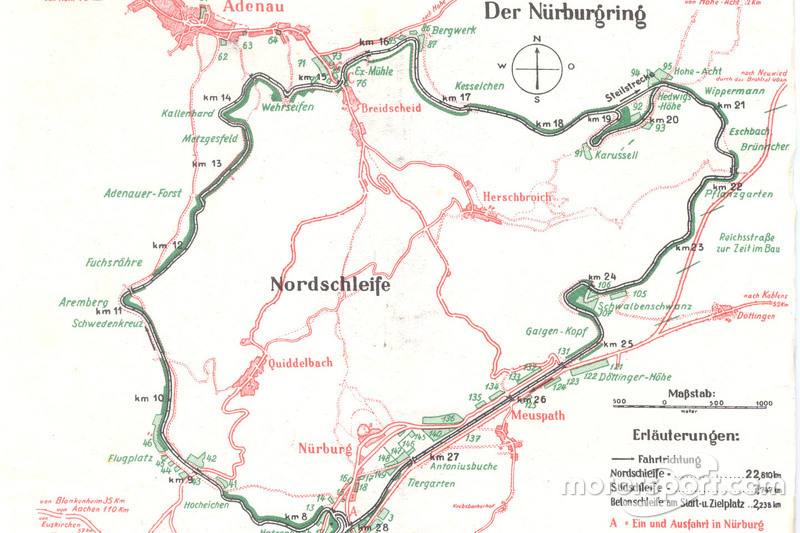 Map  Nordschleife in 1936