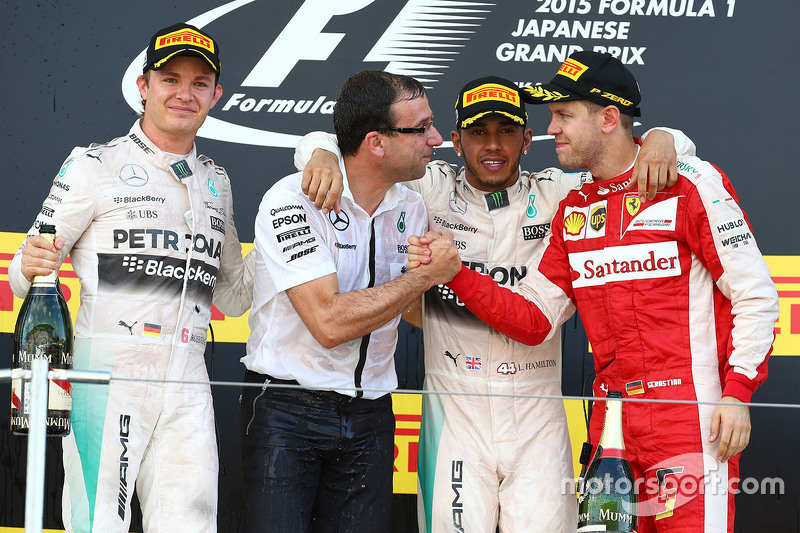Podium: 1. Lewis Hamilton, Mercedes AMG F1 Team; 2. Nico Rosberg, Mercedes AMG F1 Team; 3. Sebastian Vettel, Ferrari