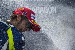Valentino Rossi, Yamaha Factory Racing, festeggia il terzo posto sul podio