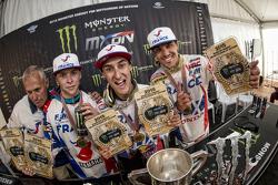 Podium: winners Gautier Paulin, Marvin Musquin, Romain Febvre, Team France