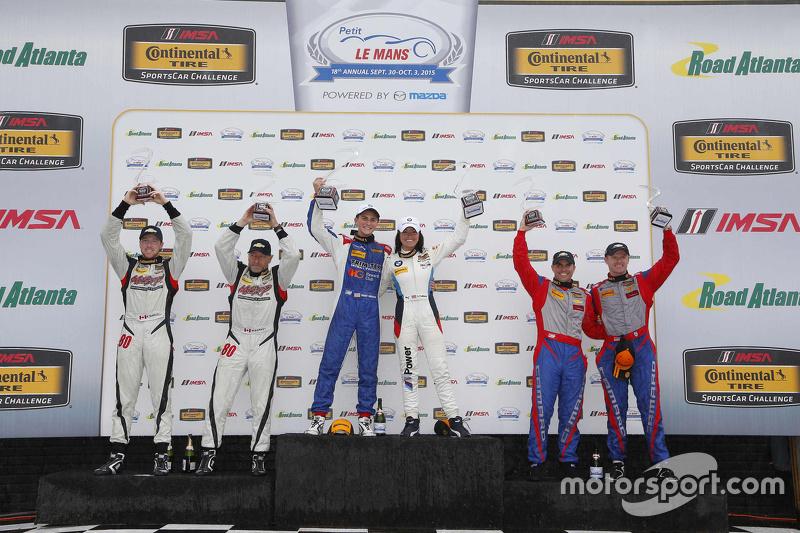 Podium: GS race winners #46 Fall-Line Motorsports BMW M3: Trent Hindman, Ashley Freiberg, second pla