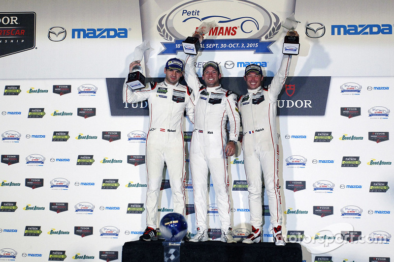 Overall winners Richard Lietz, Nick Tandy, Patrick Pilet, Porsche Team