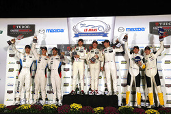 GTLM podium: winners Nick Tandy, Patrick Pilet, Richard Lietz, second place, John Edwards, Lucas Luhr, Jens Klingmann, third place Oliver Gavin, Tommy Milner, Corvette Racing