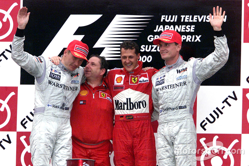 2000 - 1. Michael Schumacher, 2. Mika Häkkinen, 3. David Coulthard