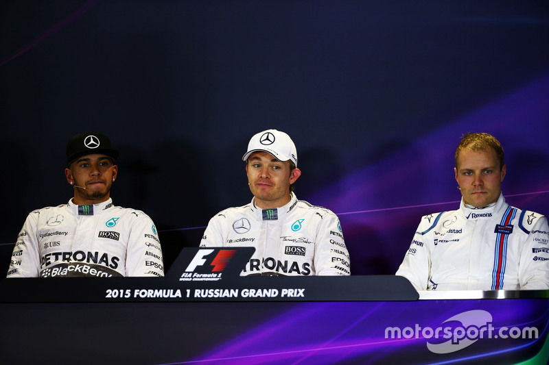 The post qualifying FIA Press Conference,: Lewis Hamilton, Mercedes AMG F1; Nico Rosberg, Mercedes A