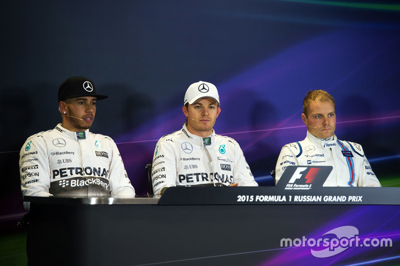The post race FIA Press Conference,: Lewis Hamilton, Mercedes AMG F1; Nico Rosberg, Mercedes AMG F1;