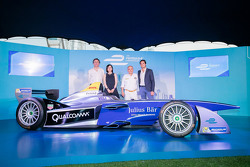 Formula E car in Hong Kong with Nelson Piquet Jr. and Alejandro Agag, CEO Formula E