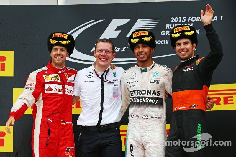 Podium: second place Sebastian Vettel, Ferrari and winner Lewis Hamilton, Mercedes AMG F1 and third place Sergio Perez, Sahara Force India F2
