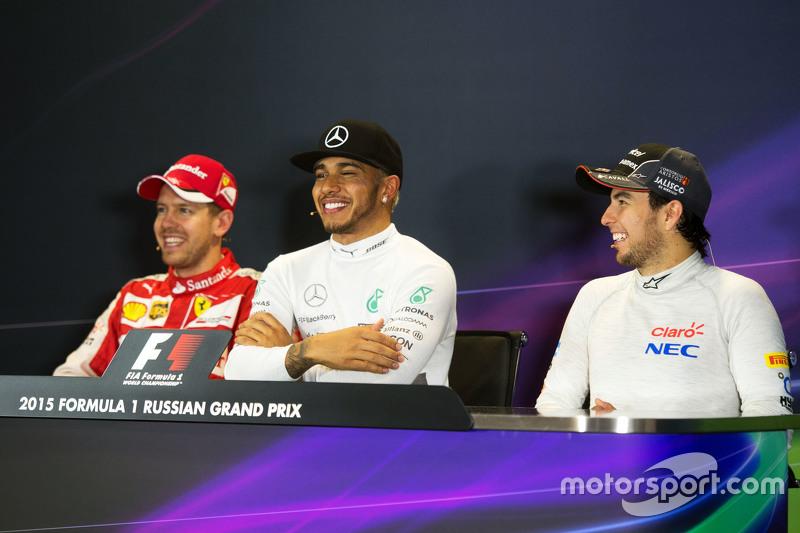 The post race FIA Press Conference,: Sebastian Vettel, Ferrari; Lewis Hamilton, Mercedes AMG F1; Sergio Perez, Sahara Force India F1