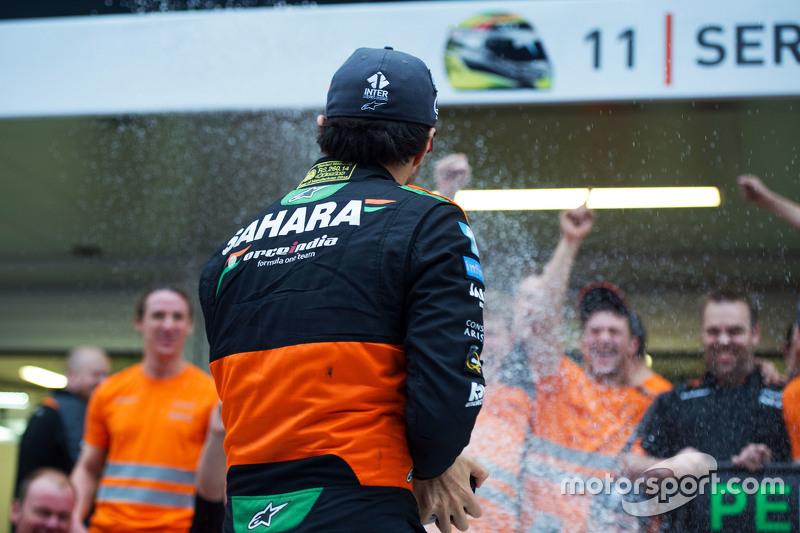 The Sahara Force India F1 Team celebrate third position for Sergio Perez, Sahara Force India F2