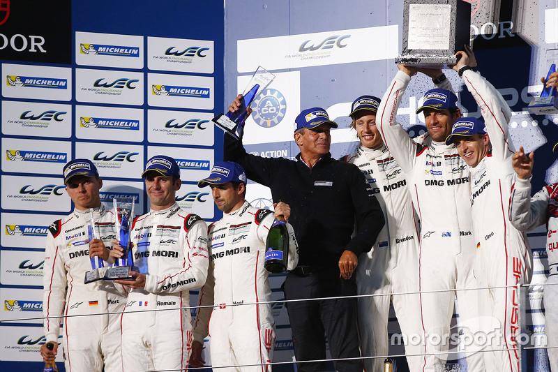 Podium: winners Timo Bernhard, Mark Webber, Brendon Hartley, Porsche Team, second place Romain Dumas, Neel Jani, Marc Lieb, Porsche Team
