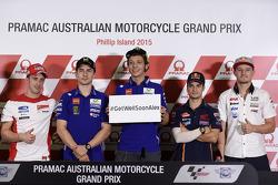 Pressekonferenz: Danny Kent, Andrea Dovizioso, Ducati Team; Jorge Lorenzo, Yamaha Factory Racing; Valentino Rossi, Yamaha Factory Racing; Dani Pedrosa, Repsol Honda Team; Jack Miller