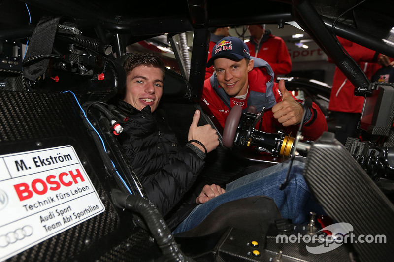 Max Verstappen, Red Bull Racing, ile Mattias Ekström, Audi Sport - Takım: Abt Sportsline, Audi A5 DTM