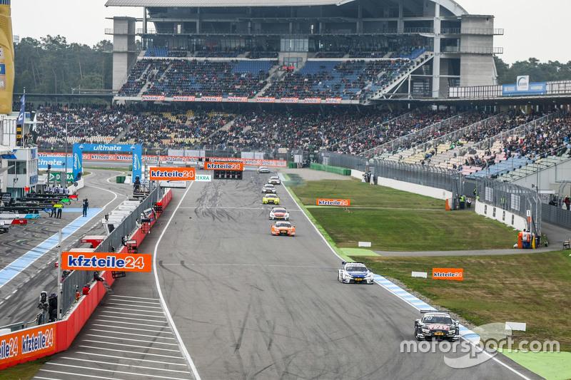Timo Scheider , Audi Sport Team Phoenix Audi RS 5 DTM leads the field