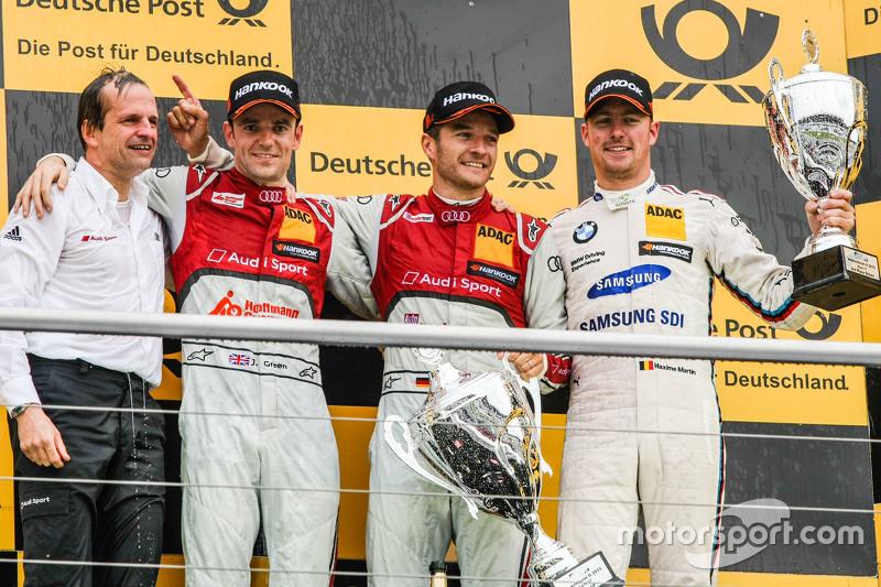 Podium, Jamie Green, Winner, Timo Scheider , Audi Sport Team Phoenix Audi RS 5 DTM and Maxime Martin