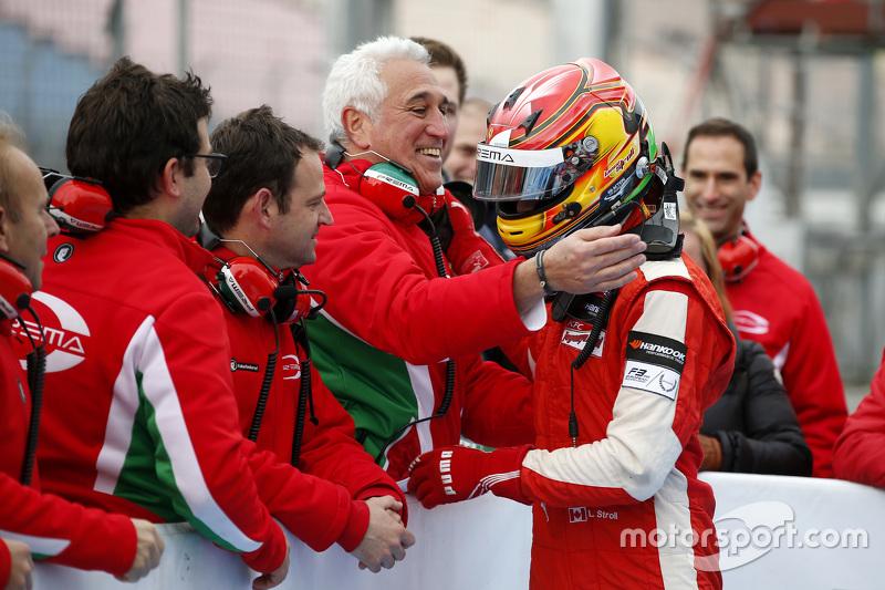 Lawrence Stroll congratulating his son Race 1 Winner Lance Stroll, Prema Powerteam Dallara Mercedes-