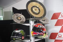 El casco de Marc Márquez, Repsol Honda Team, Jorge Lorenzo, Yamaha Factory Racing y Andrea Dovizioso