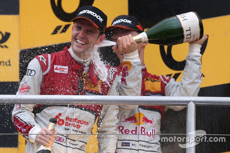 Podium: race winner Jamie Green, Audi Sport Team Rosberg Audi RS 5 DTM, second place Mattias Ekström